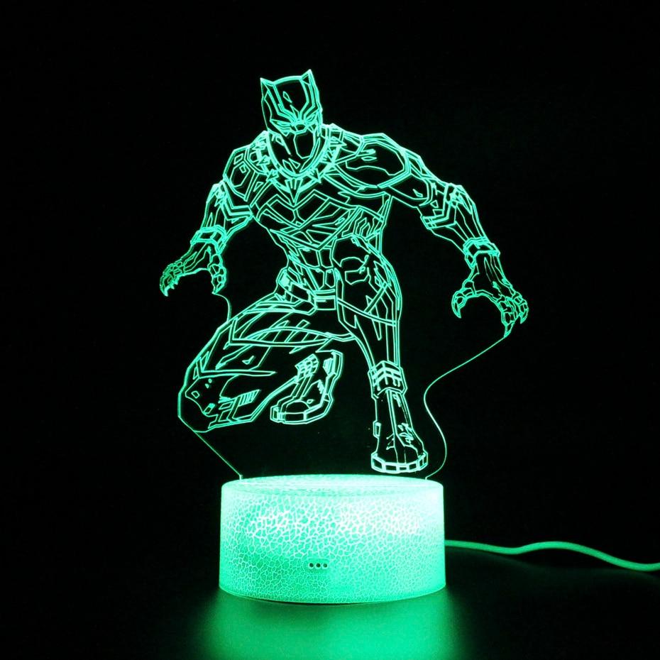 Vengadores 3D Lámpara USB RGB luz de noche negro Pantera táctil sensible luz niños dormir luces Control remoto lámpara de mesa Led