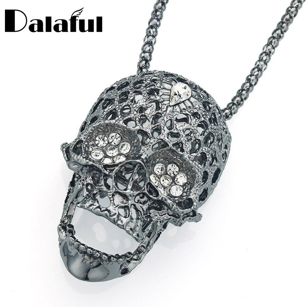 Dalaful ожерелье с черепом и скелетом, длинная цепочка для свитера, хип-хоп, ажурная подвеска с кристаллом, модные ювелирные изделия для женщин ...