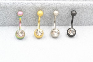 50pcs Surgical  Steel Glitter Gems Navel Belly Ring Button Bar 14gx10mmx5mm/8mm Navel Rings Body Piercing Jewelry  Free Shipping