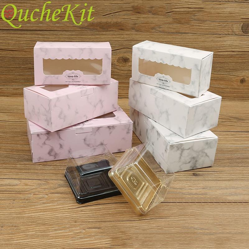 10 pçs rosa marmoring caixa de bolo de papel presentes de casamento para convidados alimentos biscoitos caixa de doces chá de bebê presente de natal envoltório com janela