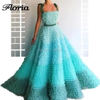 tulle tiered 2019 arabic long evening dresses multi color abendkleider middle east formal prom dress sleeveless party turkish