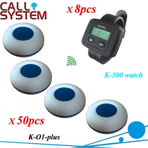Speziellen Rabatt, Wireless Kellner Service Paging-Benennendes System anrufe für Tee Haus (8 stücke Uhr und 50 glocken)