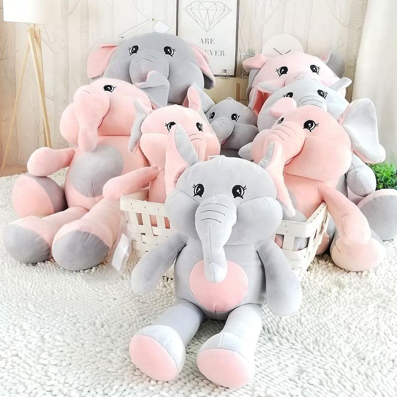 New PP Cotton Plush Elephant Toy Sleeping Cushion Super Soft Stuffed Elephant Doll Baby Cute Dolls Birthday Gifts 3 Size