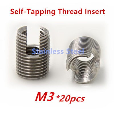 20 piezas M3 de acero inoxidable, inserto de rosca de autorroscante, casquillo, tipo ranurado, reparación de rosca