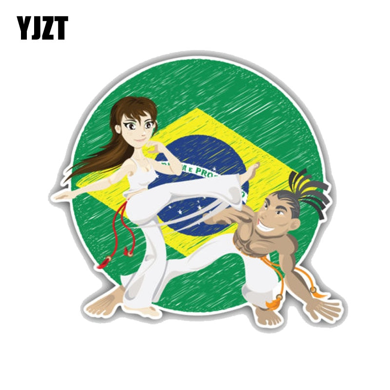 YJZT 13CM*11.9CM Brazilian Martial Art Capoeira PVC Motorcycle Car Sticker 11-00201