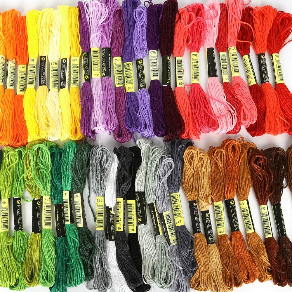 Uma etiqueta multicolorido 8 pçs semelhante dmc linha ponto cruz costura de algodão skeins bordado fio fio kit diy ferramentas de costura