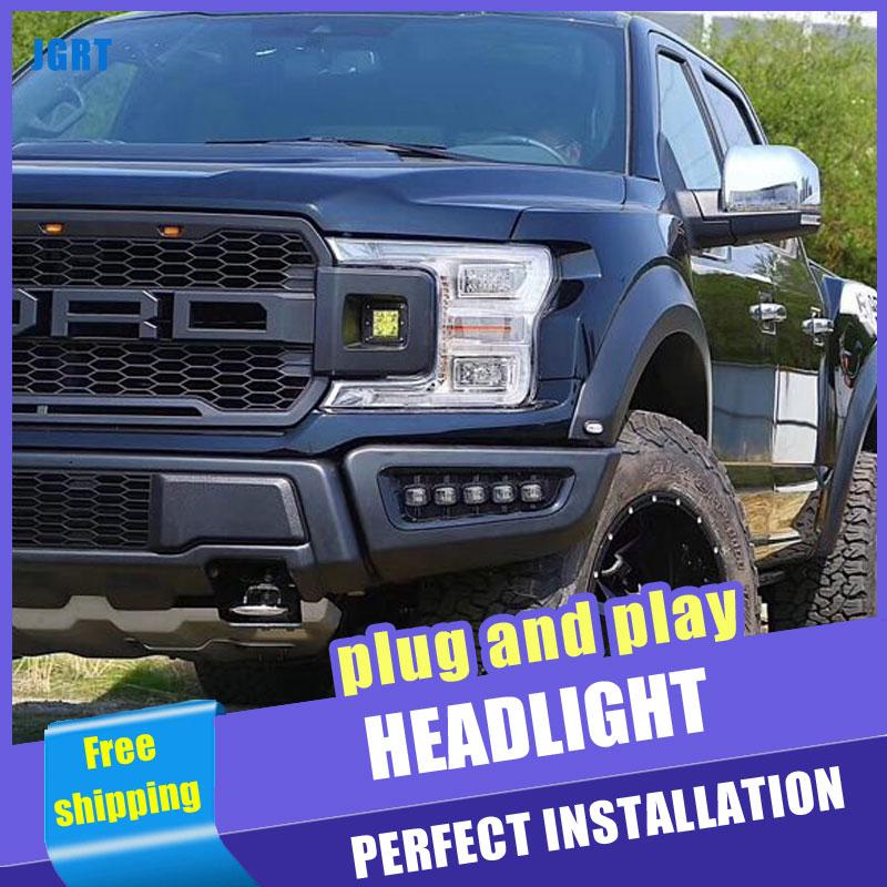 Faros delanteros LED estilo coche 2 uds para Ford F150 2019 para F150 faros delanteros LED DRL lente doble haz H7 lente HID Xenon bi xenon