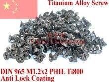 Vis DIN 965 en alliage de titane   M1.2x2 M1.2x3 M1.2x4 M1.2x5 M1.2x6, pilote Phillips à tête plate 12 pièces