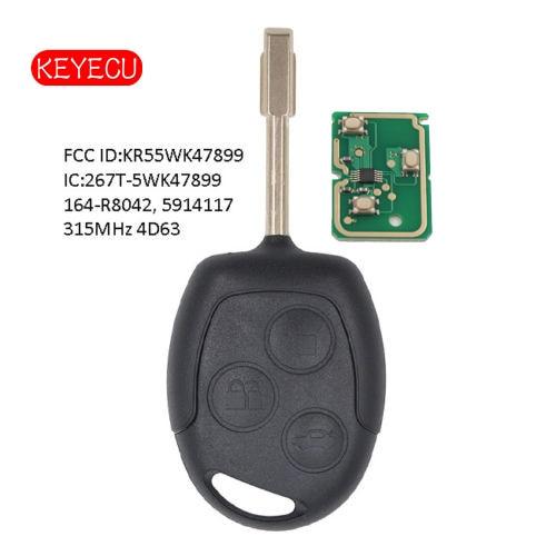 Chave remota de keyecu fob 315 mhz 4d60/4d63 chip para ford transit conectar 2010-2013 fo21 fcc kr55wk47899