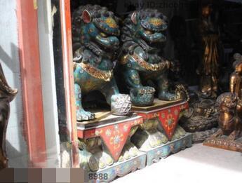 Real puro bronce Cloisonne Gild Bei jing guardián mal Fu Foo perro León par