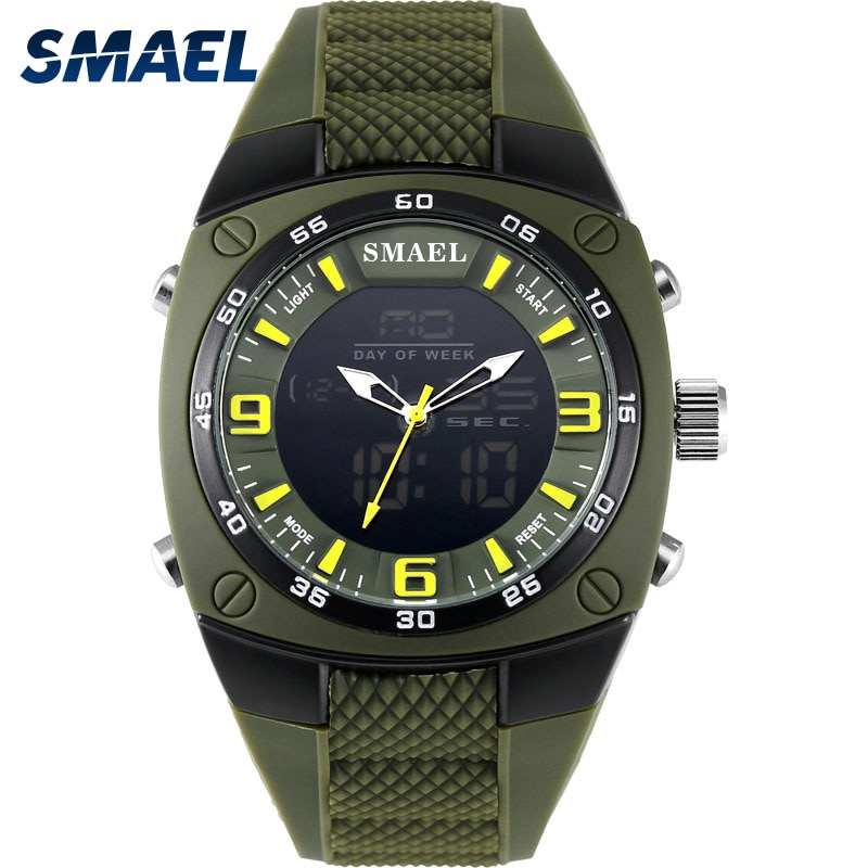 SMAEL 1008 Luxury Brand Clock Men Military Sports Watches Digital LED Quartz Wristwatches Rubber Strap Relogio Masculino Watch, men women watch clock gold silver vintage stainless steel led digital sports military wristwatches hodinky relogio masculino