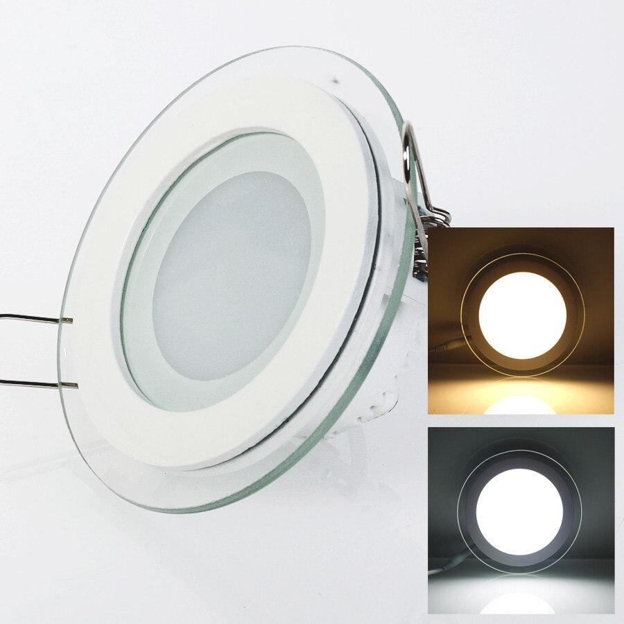 Светодиодная панель круглая стеклянная потолочный светильник 6 Вт 9 12 18