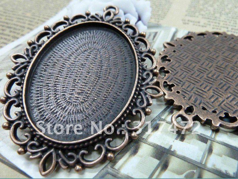 30*40mm  Blank Size Vintage Alloy Antique Rose Copper Flower Pendant  Tray Mental Base Pendants