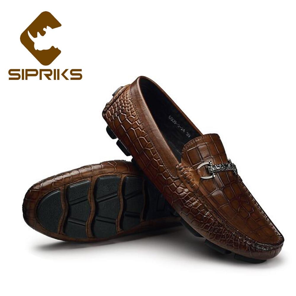 حذاء رجالي من Sipriks حذاء بدون كعب من جلد تان حذاء سهل اللبس حذاء غير رسمي للقيادة حذاء مسطح للتدخين حذاء إيطالي مستورد