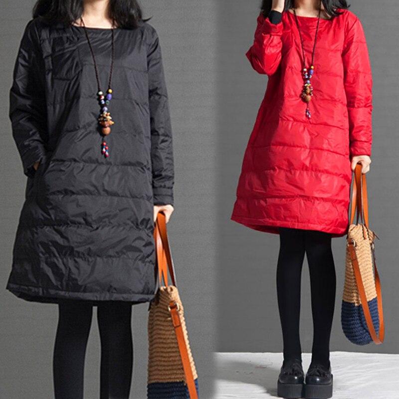 Женские куртки 2021 Осень Зима Женское длинное пальто тонкое хлопковое платье для женщин однотонное художественное приталенное платье