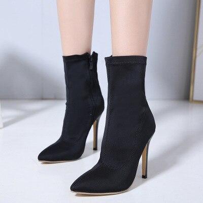 Nova tendência Europa e América apontou zíper stretch pano stiletto moda botas e botas metade da panturrilha das mulheres tamanho grande