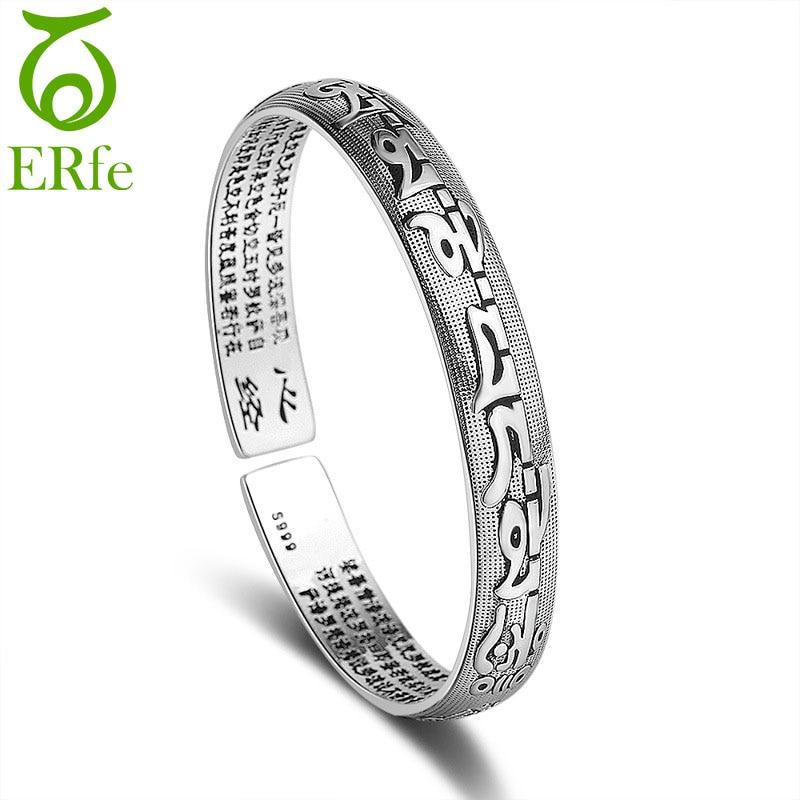 ER Ethnic S999 pulsera de OM MANI PADME HUM de plata, brazalete femenino de corazón Sutra, brazalete de Paramita, pulsera de mujer SB003