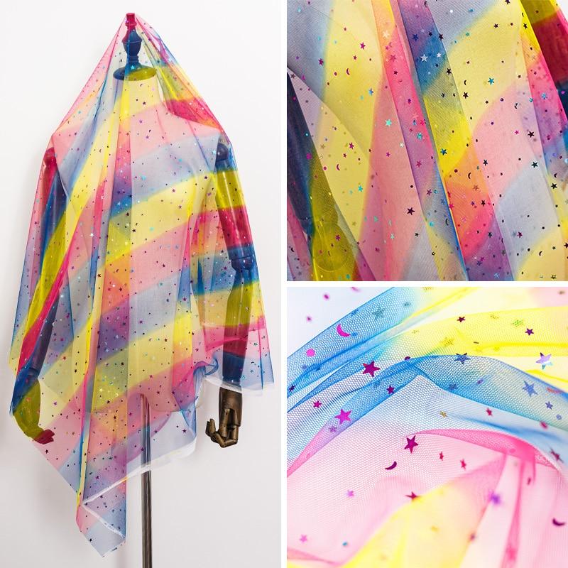 Arco-íris tule brilho rendas malha tecido estrela para a menina vestido decoração natal tj0306
