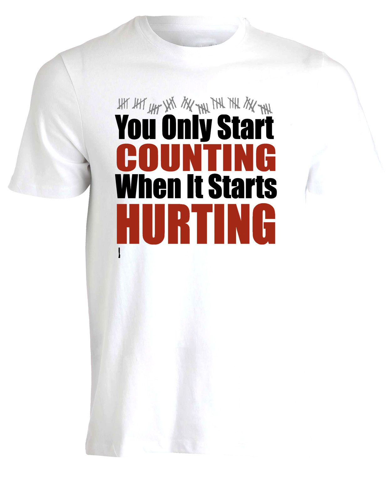 "Novedad, camisetas con cuello redondo, camiseta inspiradora para gimnasios, ""You Only Start Counting When It hikes"", Camiseta corta para hombre AF20"