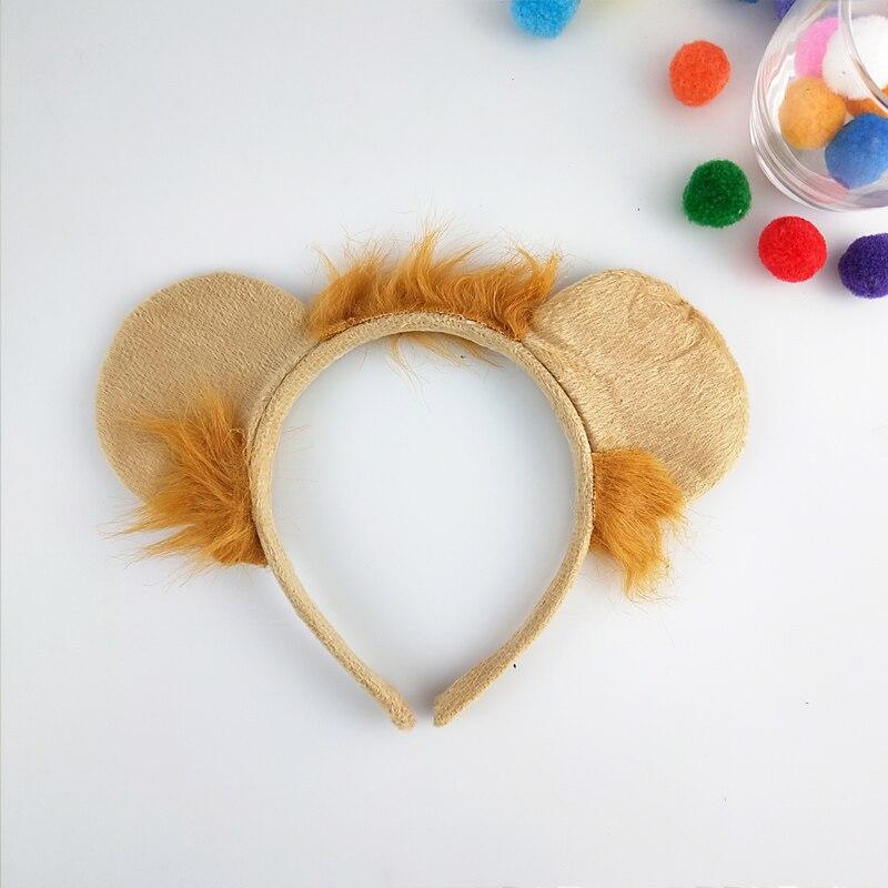 Diadema de León con orejas de Animal, accesorios de actuación para Cosplay, fiesta de cumpleaños, disfraz de Halloween para niños adultos, accesorios para el cabello para carnaval