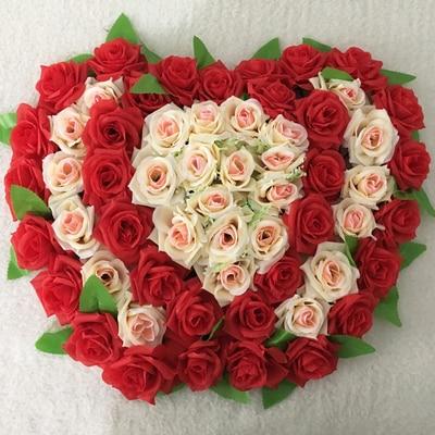 21colors 53cm*36cm Double Lovely Heart Shape Rose Flowers for Wedding Car Wall Door Artificial Decorative Flowers Para Porta