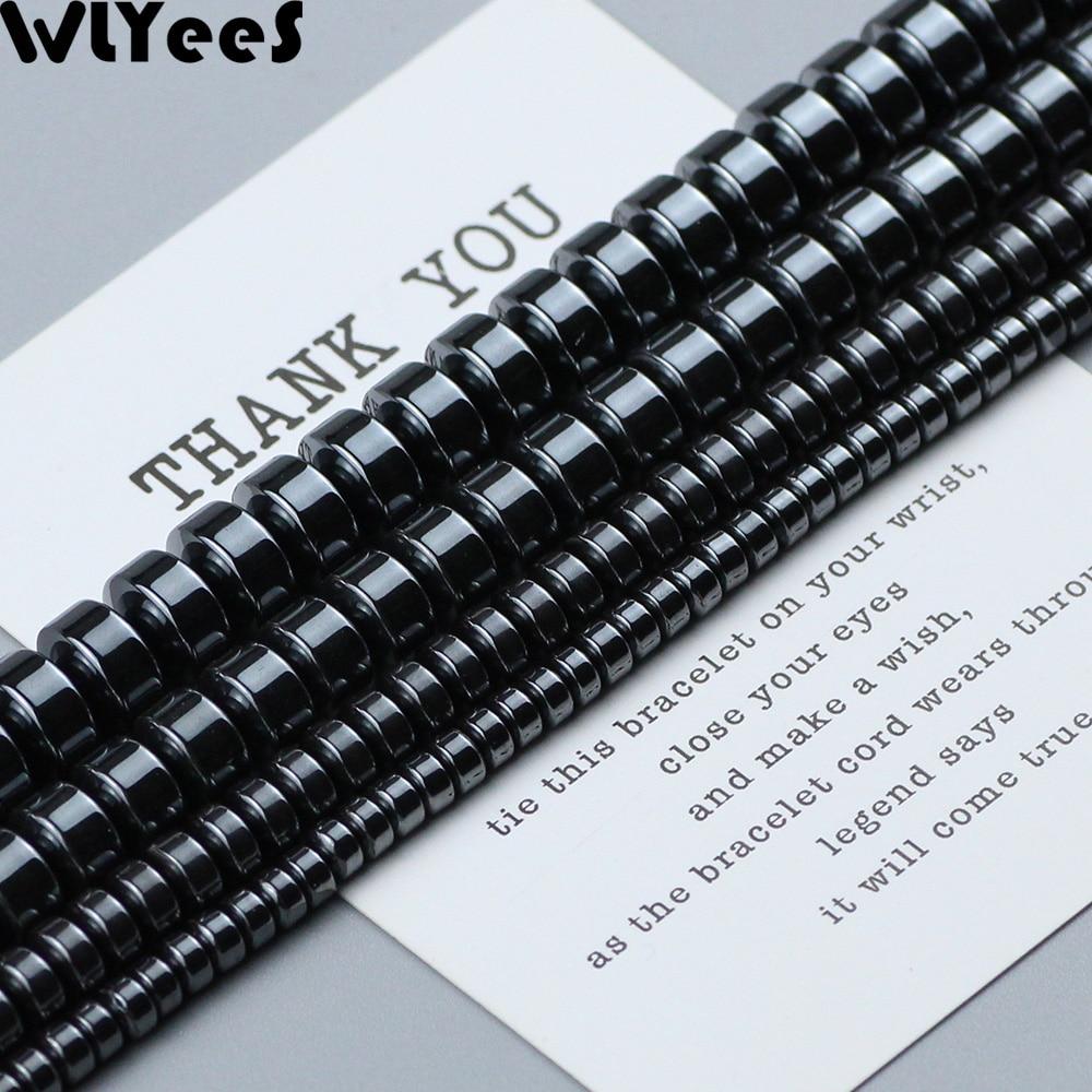 WLYeeS Geometry Cylinder Natural Black Hematite Beads Spacer Flat Round Loose DIY Jewelry Bracelet Earring Pendant Making