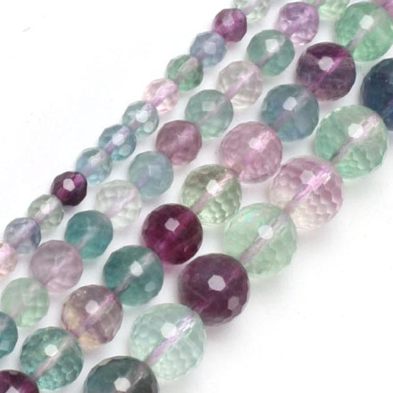 Gem-inside 6-12mm perlas de fluorita facetadas redondas naturales para la fabricación de joyas, collar, pulseras para mujeres, cuentas DIY de 15 pulgadas