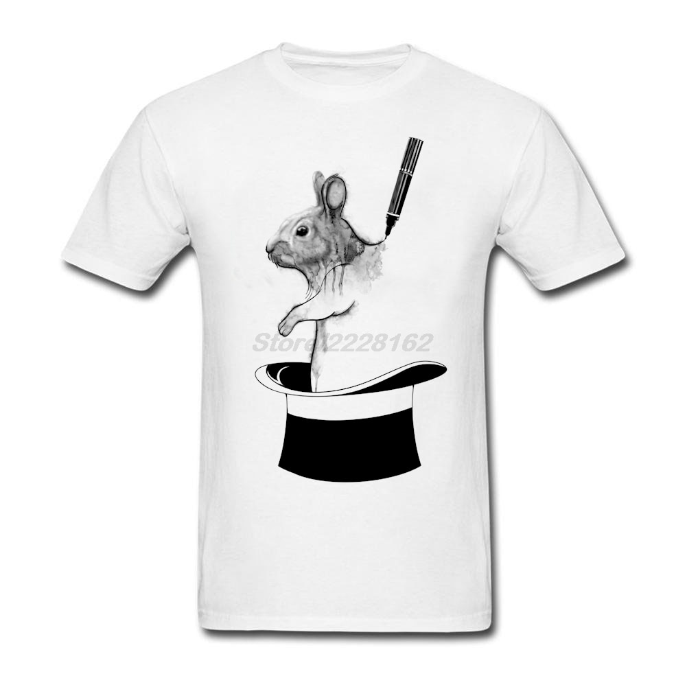 Organizador de camiseta para hombre de rotulador mágico banda Punk camiseta negra para hombre Kawaii cuello de tornillo de conejo en la magia camiseta de sombrero 100% de impresión de algodón