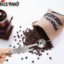 Niceyard Rvs Koffie Meten Scoop Met Zak Afdichting Clip Thee Maatlepel Multifunctionele Keuken Tool