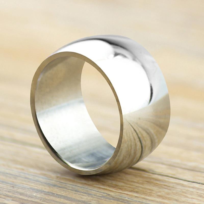Livraison gratuite large 12mm hommes anneau hommes tirer cet anneau en acier titane anneaux large brillant hommes grand anneau bijoux fins hommes bijoux