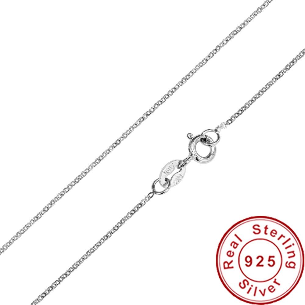 Rinyin 100% 925 prata esterlina colar moda jóias 1mm 16/18/20/22/24 polegadas rolo corrente