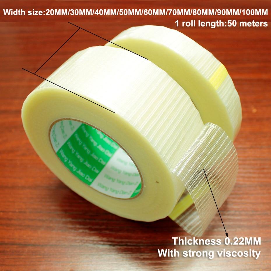 Cinta de fibra de vidrio de 50m, paquete de batería transparente, cinta de fibra de malla, modelo de avión, cinta de tira de una sola cara resistente fija translúcida