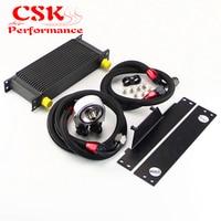 16 Row AN10 Racing Engine Oil Cooler Kit Fits For 01-05 Subaru Impreza WRX/STi Silver/Black