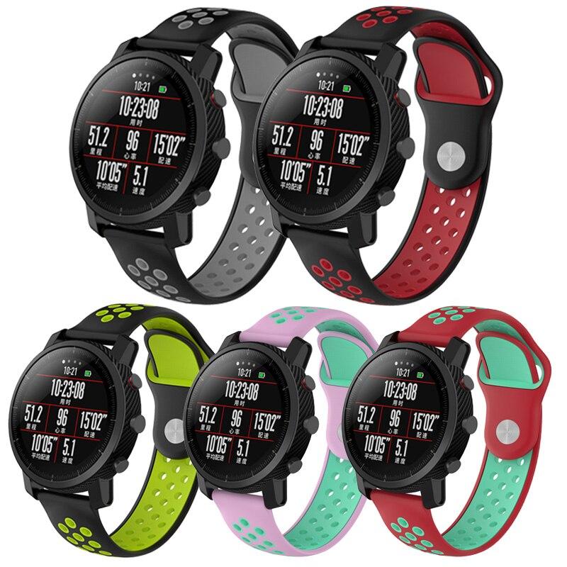 Correa de silicona de doble Color para Xiaomi Huami Amazfit 2 Stratos Pace Smart Watch banda para galaxy watch 46mm pulsera Correa 22MM