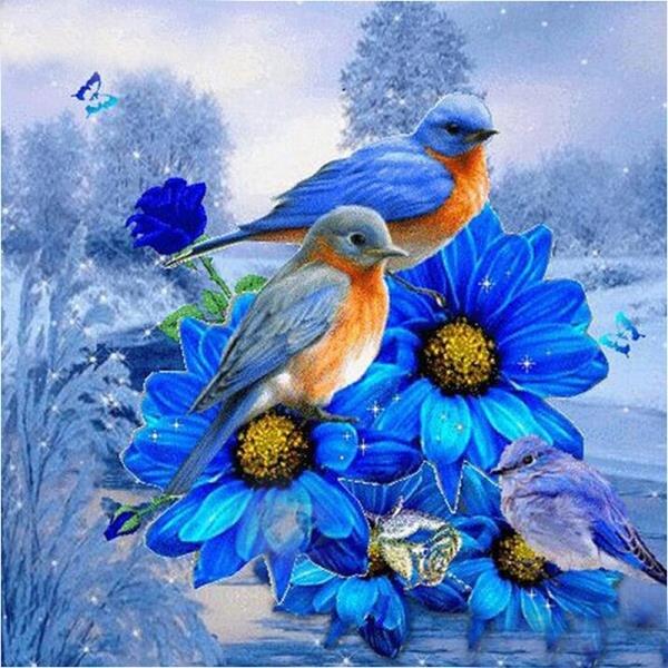 Hot sale embroidery 5d diamond painting bird on a blue flower 2019 picture handmade rhinestone needlework diamond Home decor