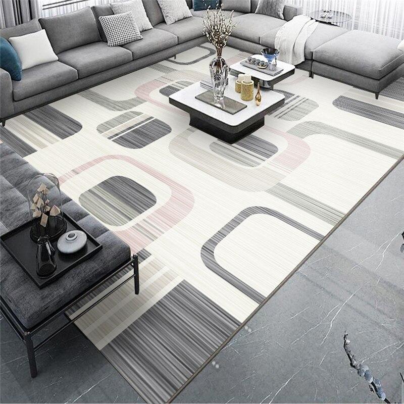 Recién llegado, alfombra geométrica abstracta para sala de estar, alfombra nórdica moderna minimalista para suelo, alfombra ligera de lujo para el hogar, Alfombra de mesa de café europea