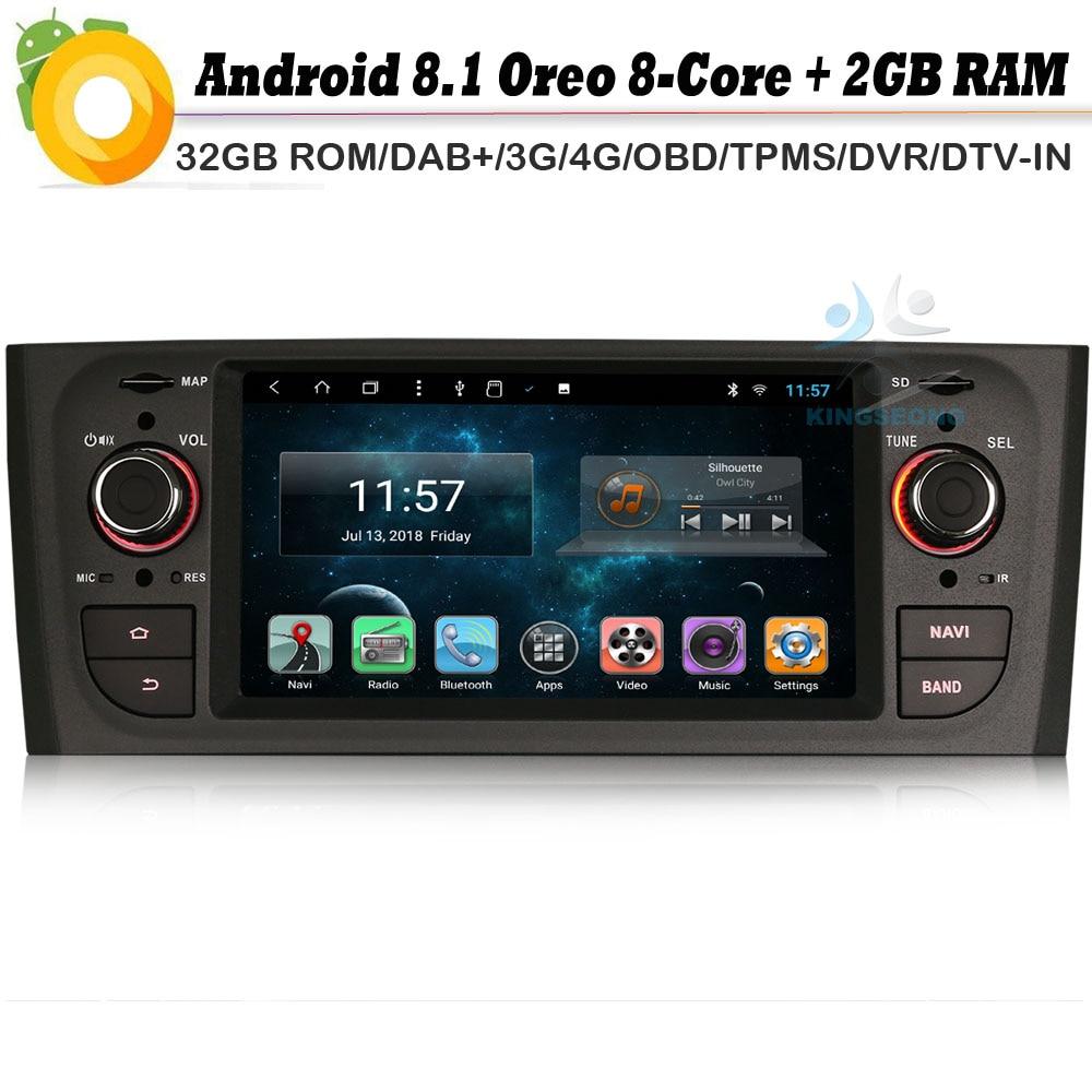 Android 8,1 Autoradio Octa Core DAB + Bluetooth + GPS Navi WiFi 4G DVR BT OBD2 DVT-IN RDS reproductor Multimedia para auto Fiat Linea