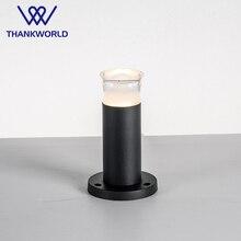 Vw led 잔디 램프 3 w 330lm 정원 빛 220 v 알루미늄 옥외 점화 ip65 acylic led bollard 램프 까만 기둥 정원 led