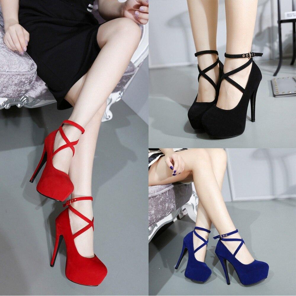 حذاء نسائي من جلد الغزال بكعب عالٍ ، حذاء نسائي بكعب عالٍ ، مثير ، مقاس كبير 34-42 ، أحمر ، أسود ، أزرق ، 2020