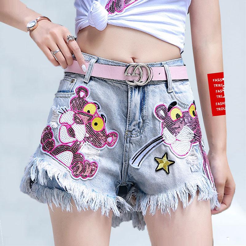 2020 Summer New Sequin Embroidery Cartoon Denim Shorts Women College Wind Hole Tassel Hot Jeans Shorts Lady Wide Leg Female 187