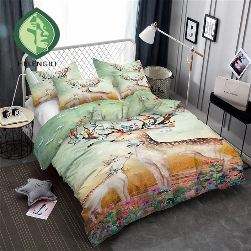 HELENGILI 3D Bedding Set Elk Print Duvet cover set lifelike bedclothes with pillowcase bed set home Textiles #ML-05