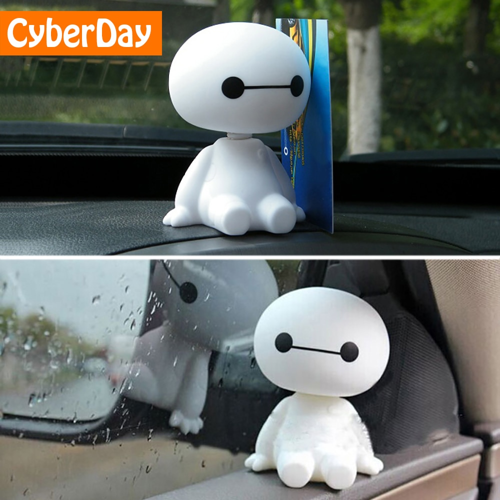 Мультяшный пластиковый робот Baymax, Тряска головой, фигурка автомобиля, украшения для интерьера автомобиля, большие куклы героев, игрушки, аксессуары для украшения
