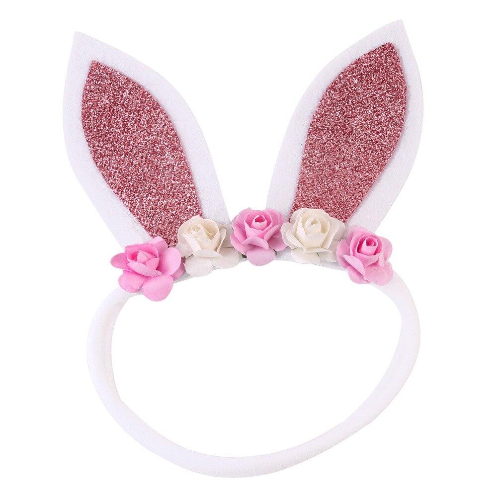 1 pçs na venda glitter orelhas de coelho bandana crianças flor náilon hairbands meninas coelho náilon acessórios de cabelo de páscoa