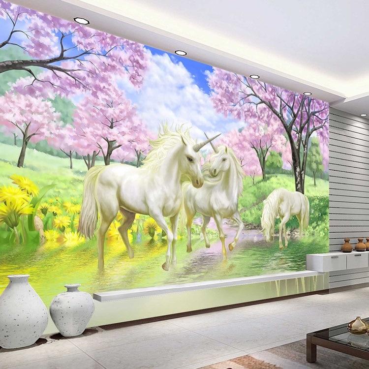 3D Custom Photo Wallpaper Unicorn Sakura Wallpaper Fantasy Wall Murals  Bedroom Children's room Art Room decor coffee shop Home