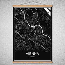 Mit Rahmen WIEN Moderne World City karte Ölgemälde poster Leinwand Abstrakter druck bild Birke scroll Reel Gemälde