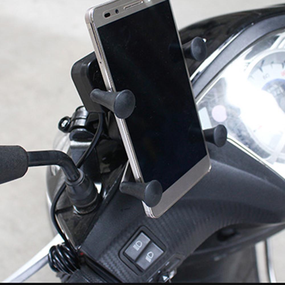 Soporte Universal de montaje para teléfono móvil de motocicleta impermeable con cargador USB rotación de 360 grados para GPS ATV Scooter ciclomotor Cruiser