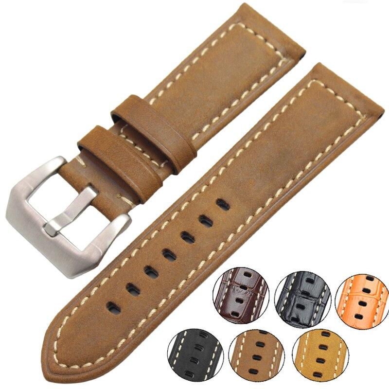 22 мм 24 мм винтажные часы из натуральной кожи ремешок для мужчин и женщин Ремешки для наручных часов Пряжка из нержавеющей стали аксессуары для Panerai