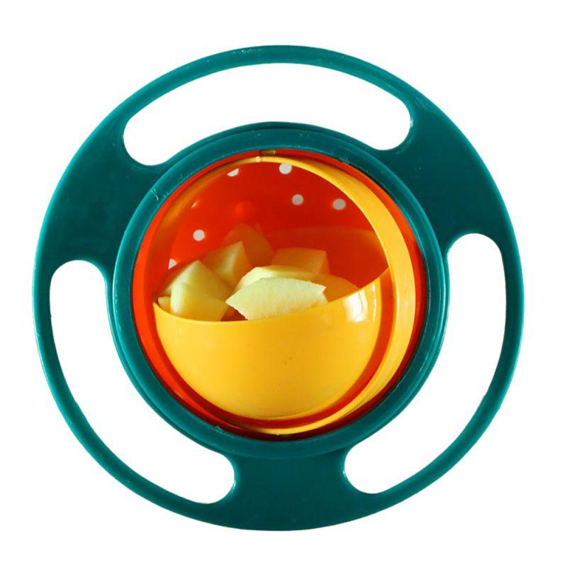 Cuenco mágico giratorio de 360 grados, cuenco giroscópico resistente a derrames con tapa para niños pequeños