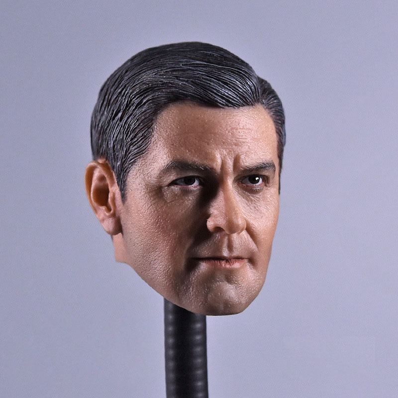 """1/6 Scale Smiing George Clooney Argo Head Carving Sculpt Male Version Model Short Hair Headplay for 12"""" Action Figure Body"""