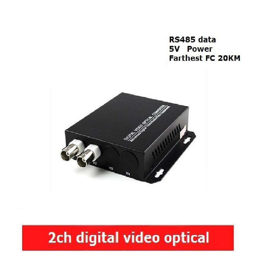2CH digital Video Optical converter fiber optic video optical transmitter and receiver multiplexer 2CH + RS 485 Data FC 20KM